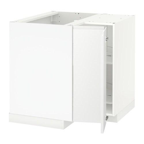 METOD Eckunterschrank+Karussell - Voxtorp Linksanschlag matt weiß - IKEA