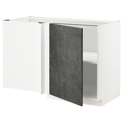 METOD Eckunterschrank mit Boden, weiß/Kalhyttan Betonmuster dunkelgrau, 128x68 cm