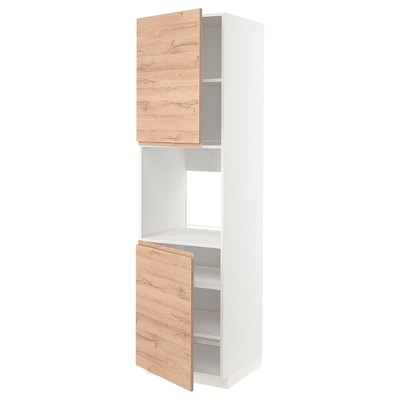 METOD Hochschr. f Ofen+2 Türen/Böden, weiß/Voxtorp Eichenachbildung, 60x60x220 cm