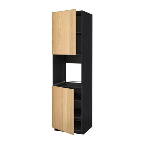 ofen wohnzimmer abstand:METOD Hochschr. f Ofen+2 Türen/Böden – Holzeffekt schwarz, Ekestad