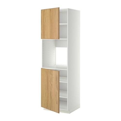 ofen wohnzimmer abstand:METOD Hochschr. f Ofen+2 Türen/Böden – weiß, Hyttan Eichenfurnier