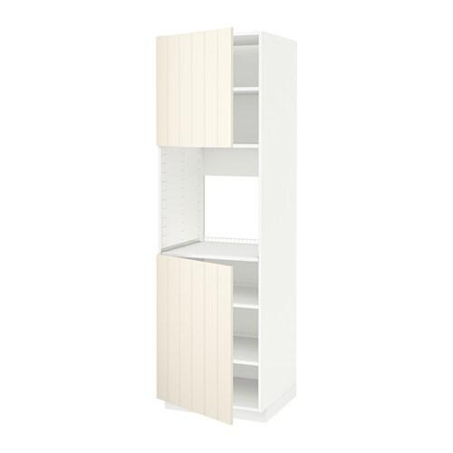 ofen wohnzimmer abstand:METOD Hochschr. f Ofen+2 Türen/Böden – weiß, Hittarp elfenbeinweiß