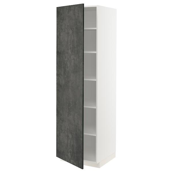 METOD Hochschrank mit Einlegeböden, weiß/Kalhyttan Betonmuster dunkelgrau, 60x60x200 cm