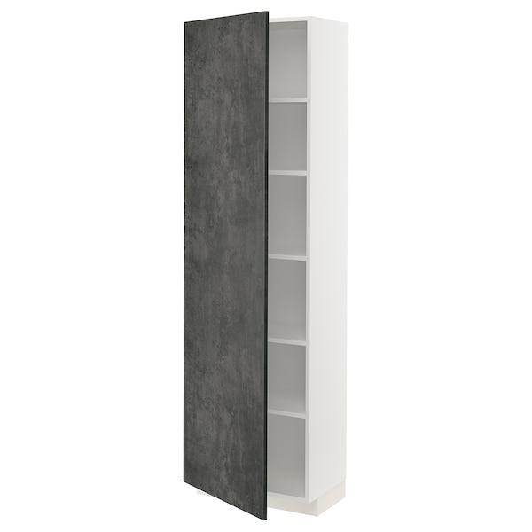 METOD Hochschrank mit Einlegeböden, weiß/Kalhyttan Betonmuster dunkelgrau, 60x37x200 cm