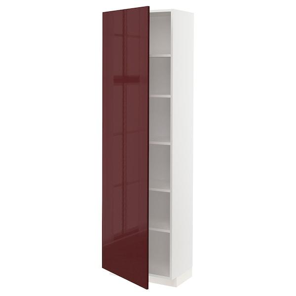 METOD Hochschrank mit Einlegeböden, weiß Kallarp/Hochglanz dunkel rotbraun, 60x37x200 cm