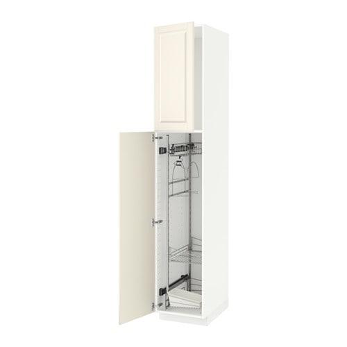 Kleiderschrank Ikea Pax Weiss ~ METOD Hochschrank mit Putzschrankeinr  weiß, Bodbyn elfenbeinweiß