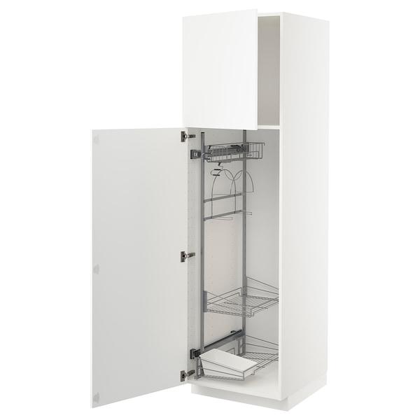 METOD Hochschrank mit Putzschrankeinr., weiß/Axstad matt weiß, 60x60x200 cm
