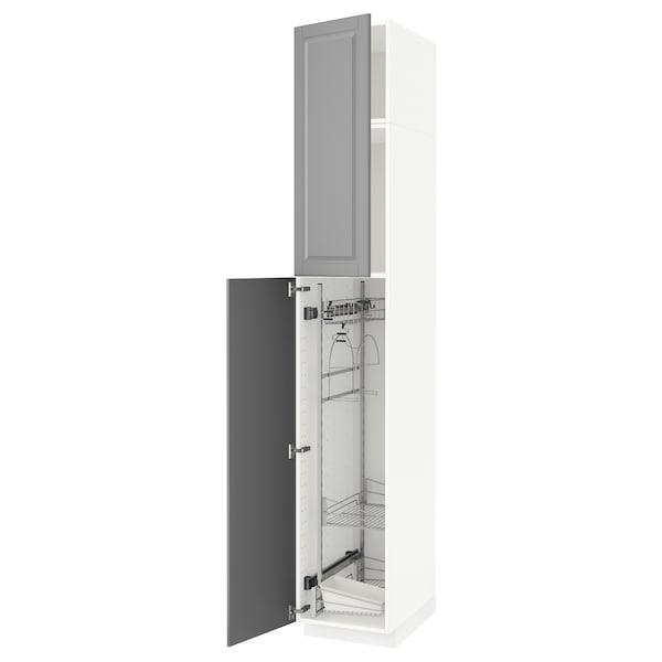 METOD Hochschrank mit Putzschrankeinr., weiß/Bodbyn grau, 40x60x240 cm