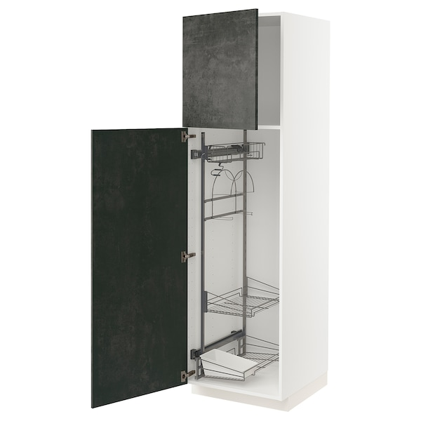 METOD Hochschrank mit Putzschrankeinr., weiß/Kalhyttan Betonmuster dunkelgrau, 60x60x200 cm