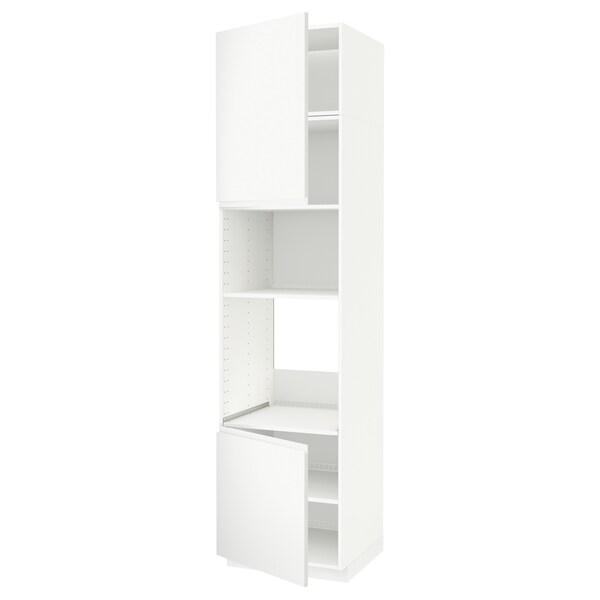 METOD HS f Ofen/Mikro m 2 Türen/Böden, weiß/Voxtorp matt weiß, 60x60x240 cm