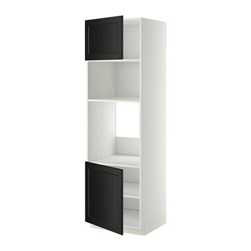 ofen wohnzimmer abstand:METOD HS f Ofen/Mikro m 2 Türen/Böden – weiß, Laxarby schwarzbraun