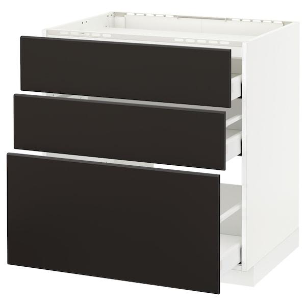 METOD / MAXIMERA Unterschr.f Kochf/3 Fronten/3Sch. weiß/Kungsbacka anthrazit 80.0 cm 61.6 cm 88.0 cm 60.0 cm 80.0 cm
