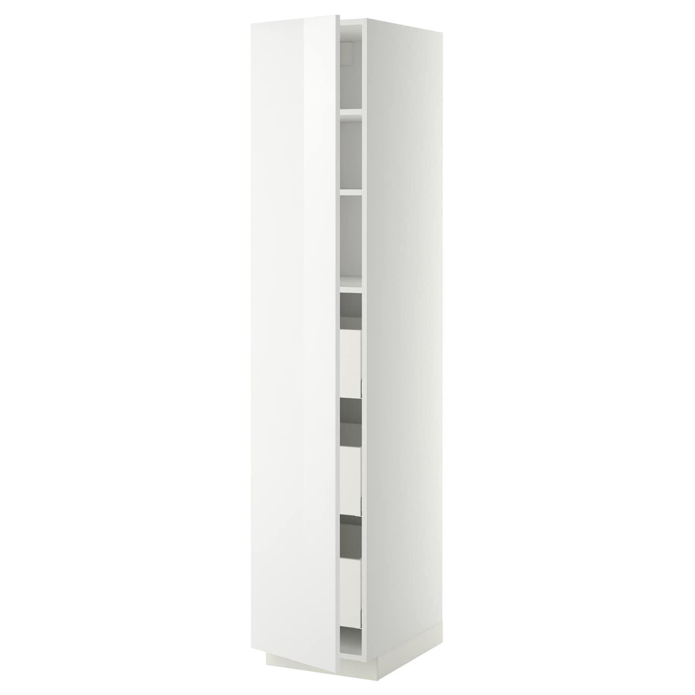METOD / MAXIMERA Hochschrank m Schubladen - weiß, Ringhult weiß 19x19x19 cm