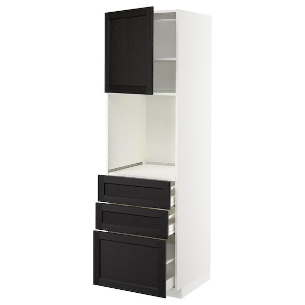 METOD / MAXIMERA Hochschr f Of+Tü/3 Sch, weiß/Lerhyttan schwarz lasiert, 60x60x200 cm