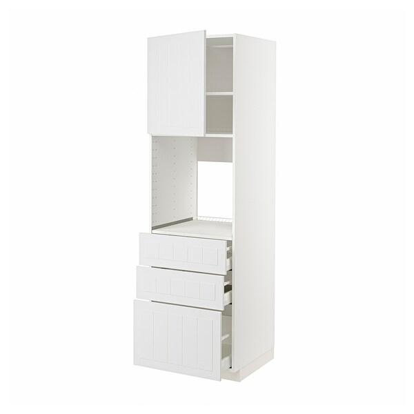METOD / MAXIMERA Hochschr f Of+Tü/3 Sch, weiß/Stensund weiß, 60x60x200 cm