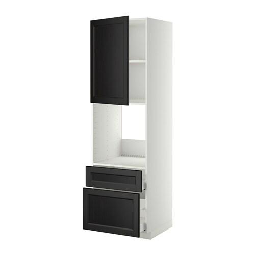 metod maximera hochschrank f backofen t r 2schubl laxarby schwarzbraun 60x60x200 cm ikea. Black Bedroom Furniture Sets. Home Design Ideas