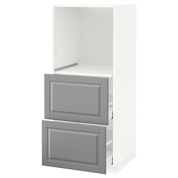 METOD / MAXIMERA Hochschrank m 2 Schubl. für Ofen, weiß/Bodbyn grau, 60x60x140 cm
