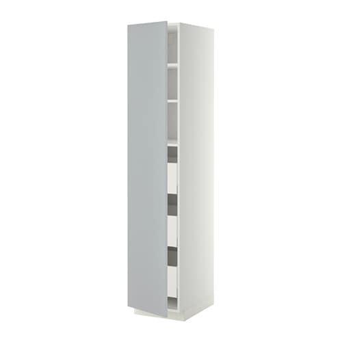 Kleiderschrank Ikea Birkeland ~   Hochschrank m Schubladen  weiß, Veddinge grau, 40x60x200 cm  IKEA