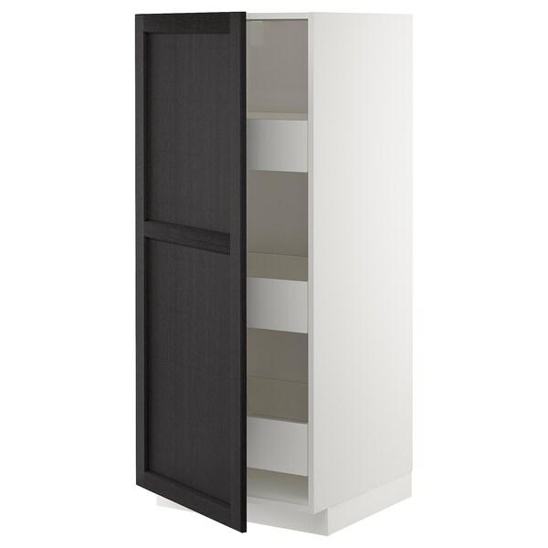 METOD / MAXIMERA Hochschrank m Schubladen, weiß/Lerhyttan schwarz lasiert, 60x60x140 cm