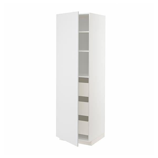 METOD / MAXIMERA Hochschrank m Schubladen, weiß/Stensund weiß, 60x60x200 cm