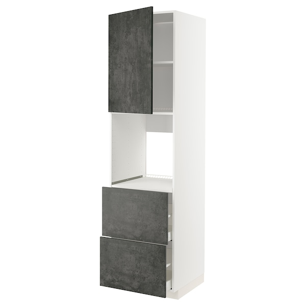 METOD / MAXIMERA HS f Of m Tür/2 Fronten/2 ho Sch, weiß/Kalhyttan Betonmuster dunkelgrau, 60x60x220 cm