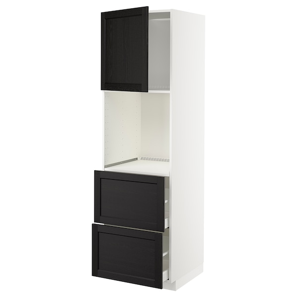 METOD / MAXIMERA HS f Of m Tür/2 Fronten/2 ho Sch, weiß/Lerhyttan schwarz lasiert, 60x60x200 cm