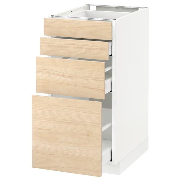 METOD / MAXIMERA Unterschr., 4 Fronten/4 Schubladen, weiß/Askersund Eschenachbildung hell, 40x60 cm