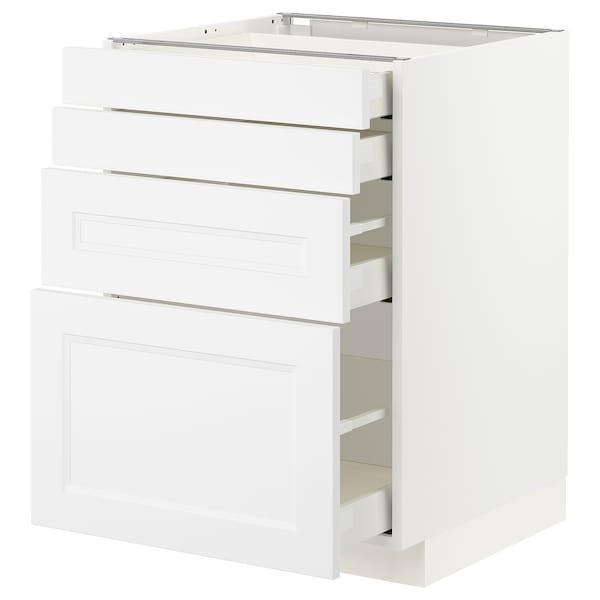 METOD / MAXIMERA Unterschr., 4 Fronten/4 Schubladen, weiß/Axstad matt weiß, 60x60 cm
