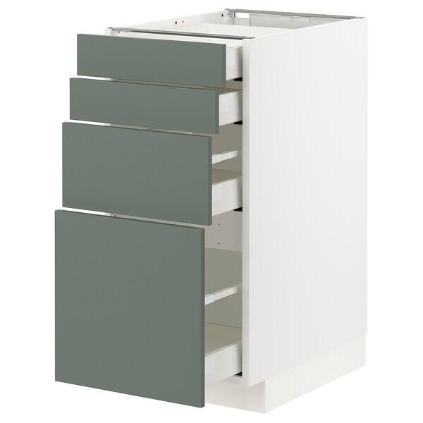 METOD / MAXIMERA Unterschr., 4 Fronten/4 Schubladen, weiß/Bodarp graugrün, 40x60 cm