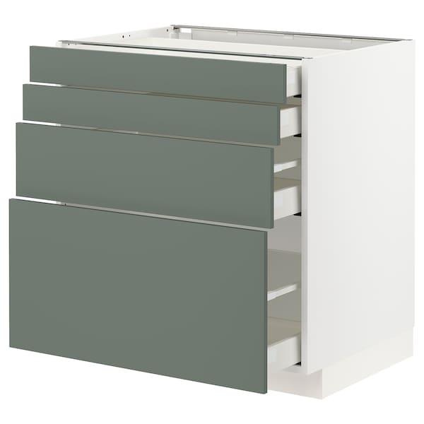 METOD / MAXIMERA Unterschr., 4 Fronten/4 Schubladen, weiß/Bodarp graugrün, 80x60 cm