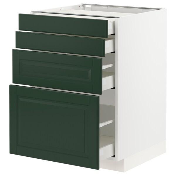 METOD / MAXIMERA Unterschr., 4 Fronten/4 Schubladen, weiß/Bodbyn dunkelgrün, 60x60 cm