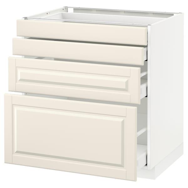 METOD / MAXIMERA Unterschr., 4 Fronten/4 Schubladen, weiß/Bodbyn elfenbeinweiß, 80x60 cm