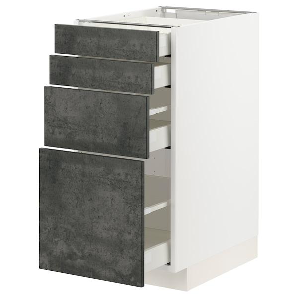 METOD / MAXIMERA Unterschr., 4 Fronten/4 Schubladen, weiß/Kalhyttan Betonmuster dunkelgrau, 40x60 cm