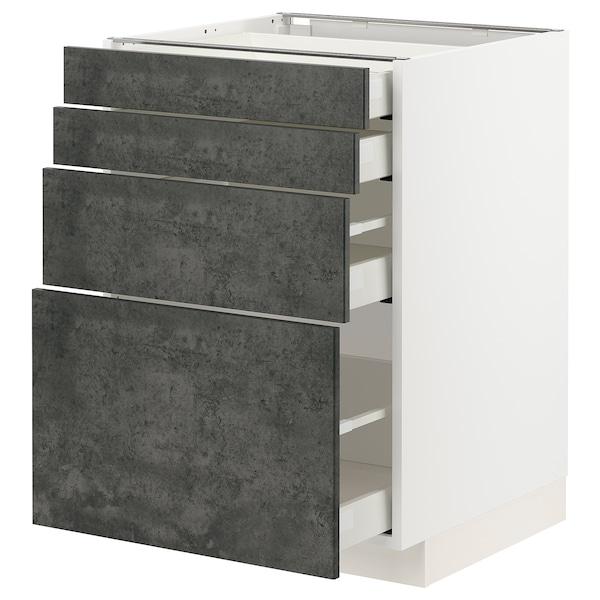 METOD / MAXIMERA Unterschr., 4 Fronten/4 Schubladen, weiß/Kalhyttan Betonmuster dunkelgrau, 60x60 cm