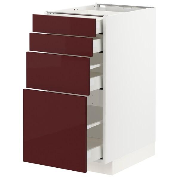 METOD / MAXIMERA Unterschr., 4 Fronten/4 Schubladen, weiß Kallarp/Hochglanz dunkel rotbraun, 40x60 cm