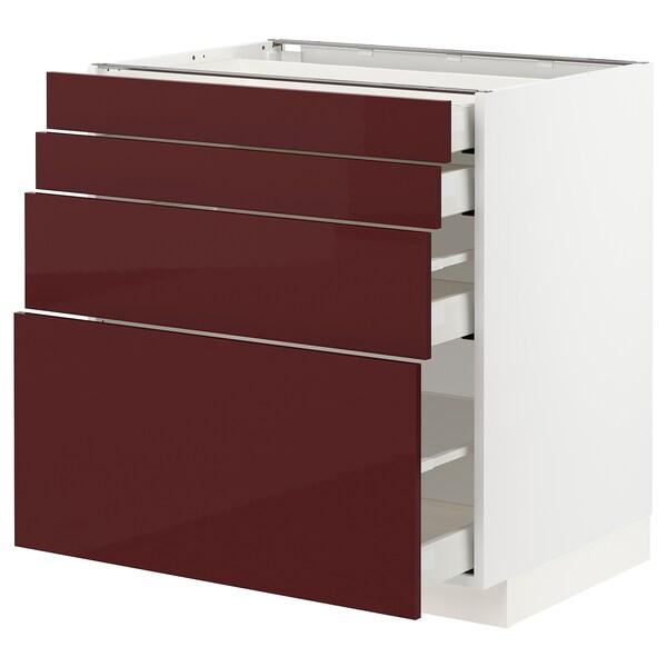 METOD / MAXIMERA Unterschr., 4 Fronten/4 Schubladen, weiß Kallarp/Hochglanz dunkel rotbraun, 80x60 cm