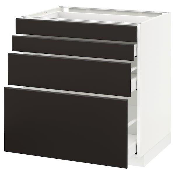 METOD / MAXIMERA Unterschr., 4 Fronten/4 Schubladen, weiß/Kungsbacka anthrazit, 80x60 cm