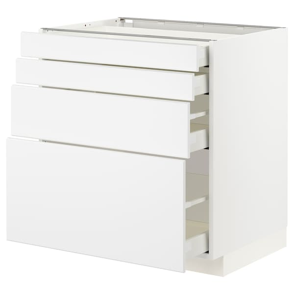 METOD / MAXIMERA Unterschr., 4 Fronten/4 Schubladen, weiß/Kungsbacka matt weiß, 80x60 cm
