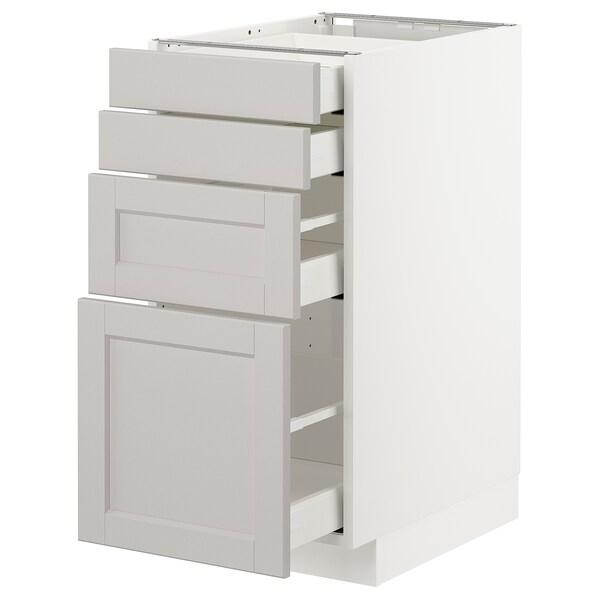 METOD / MAXIMERA Unterschr., 4 Fronten/4 Schubladen, weiß/Lerhyttan hellgrau, 40x60 cm