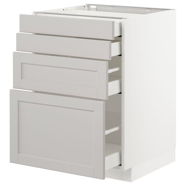 METOD / MAXIMERA Unterschr., 4 Fronten/4 Schubladen, weiß/Lerhyttan hellgrau, 60x60 cm