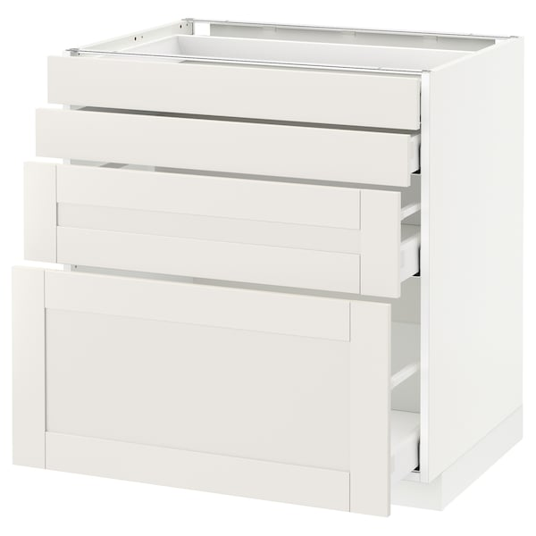 METOD / MAXIMERA Unterschr., 4 Fronten/4 Schubladen, weiß/Sävedal weiß, 80x60 cm