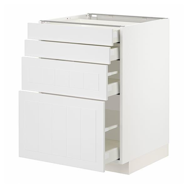 METOD / MAXIMERA Unterschr., 4 Fronten/4 Schubladen, weiß/Stensund weiß, 60x60 cm
