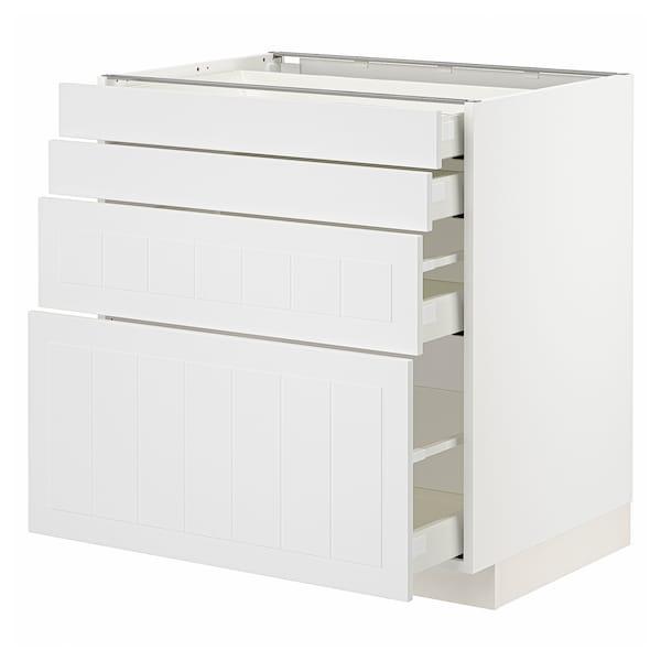 METOD / MAXIMERA Unterschr., 4 Fronten/4 Schubladen, weiß/Stensund weiß, 80x60 cm