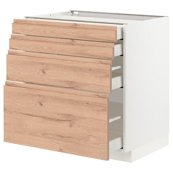 METOD / MAXIMERA Unterschr., 4 Fronten/4 Schubladen, weiß/Voxtorp Eichenachbildung, 80x60 cm