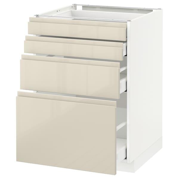 METOD / MAXIMERA Unterschr., 4 Fronten/4 Schubladen, weiß/Voxtorp Hgl hbei, 60x60 cm