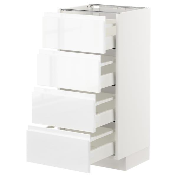 METOD / MAXIMERA Unterschr., 4 Fronten/4 Schubladen, weiß/Voxtorp Hochglanz/weiß, 40x37 cm