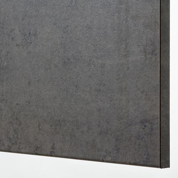 METOD / MAXIMERA Unterschr.f. Kochf./2 Fronten/2Sch., weiß/Kalhyttan Betonmuster dunkelgrau, 60x60 cm