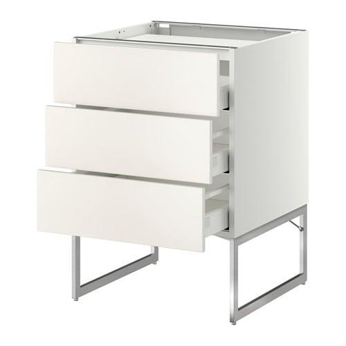 Ikea Schreibtisch Rollcontainer ~   Unterschr f Kochf 3 Fronten 3Sch  Veddinge weiß, 60x60x60 cm  IKEA