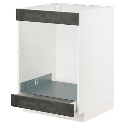 METOD / MAXIMERA Unterschr. f Kochf.+Ofen+Schublade, weiß/Kalhyttan Betonmuster dunkelgrau, 60x60 cm