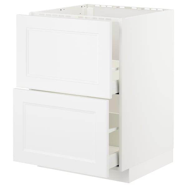 METOD / MAXIMERA Unterschr. f Spüle/2 Fronten/2Sch., weiß/Axstad matt weiß, 60x60 cm